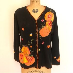 Vtg Halloween Cardigan Sweater Beaded Embroidered